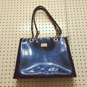 Beijo Blue Patent Leather Purse